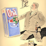 Gottlieb Duttweiler überklebt «Ohne Hänkel» mit einem Feigenblatt. Im Hintergrund Henkel mit deutscher Pickelhaube und Henkel-Griff (1932)